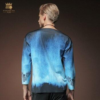 Designers male fashion men's autumn ninth sleeve loose shirt collar jacket Mens