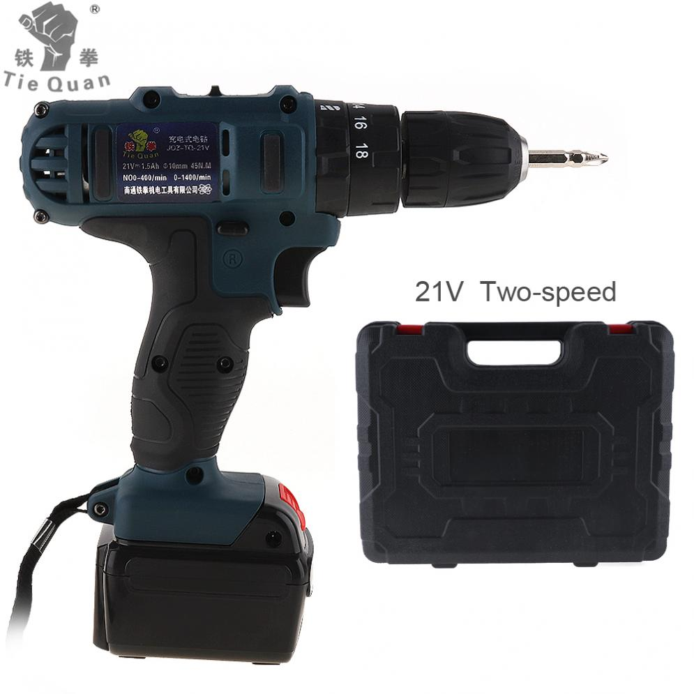 AC 110 - 220V Impact Cordless 21V Electric Drill / Screwdriver with 45 N*M Lithium Battery for Handling Screws / Punching makita 18v lithium battery series tool cordless impact screwdriver 3000ipm 2300rpm