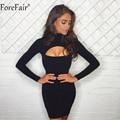 ForeFair осень с длинным рукавом Водолазка вечерние платье для женщин 2018 женский Открытая грудь Мини облегающее платье черный серый зима сексуальное платье - фото