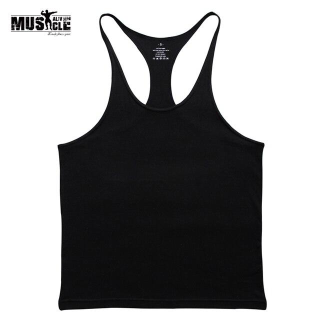 3b4571c959153 Gyms Tank Top Men Blank Bodybuilding Clothing Stringer Singlets Fitness Men  Gyms Sleeveless Cotton Racerback Workout Vests