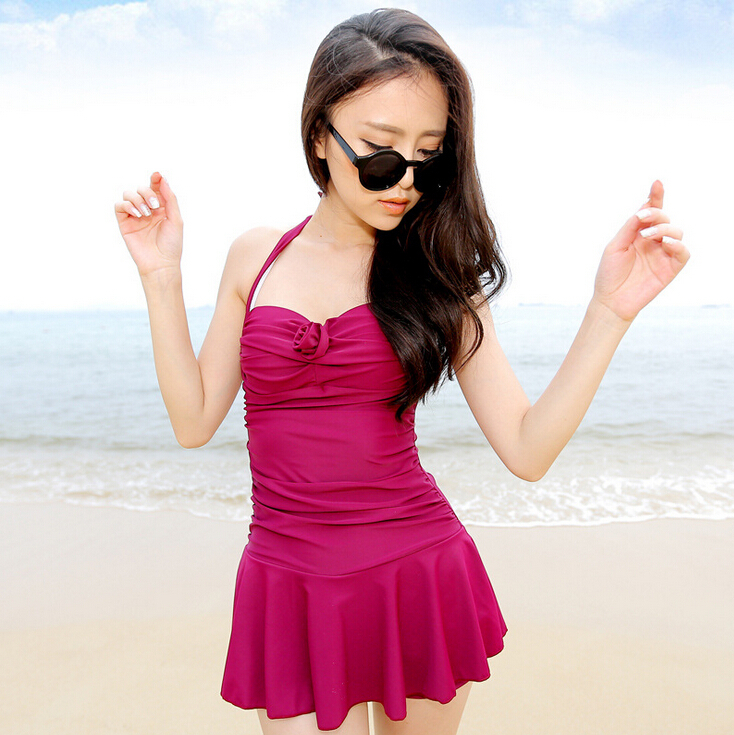 2014 womens one piece swimsuits with skirts cheap cute