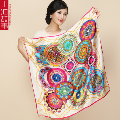 85*85cm Silk Satin Scarf Square Luxury Brand Scarves Women 100% High Quality Printed Shawl Ring Hot Head Bandana Tn2-4