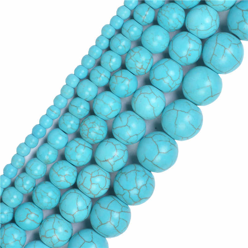 อัญมณีธรรมชาติหินสีขาว Howlite Turquoises 4 6 8 10 12 14 มม. สร้อยข้อมือ Diy Charm ลูกปัดสำหรับเครื่องประดับทำ