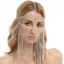 Fashion Popular Rhinestone Tassel Mask Jewelry for Women Masquerade Decoration Props Charm Sexy Long Tassel Pendant Masks