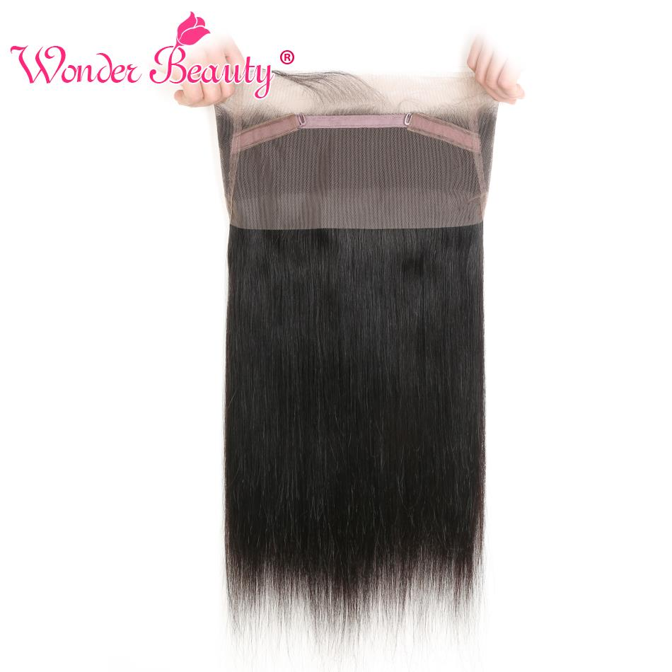 Wonder Beauty Hair Remy hair 360 lace frontal Brazilian straight hair natural black color 10-20 inches natural free part 1 piece