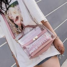 Women Clear Transparent Sling Shoulder Bag PVC Fashion Cute Tote Candy Color Jelly Bags Purse Handbags Messenger Crossbody Bag