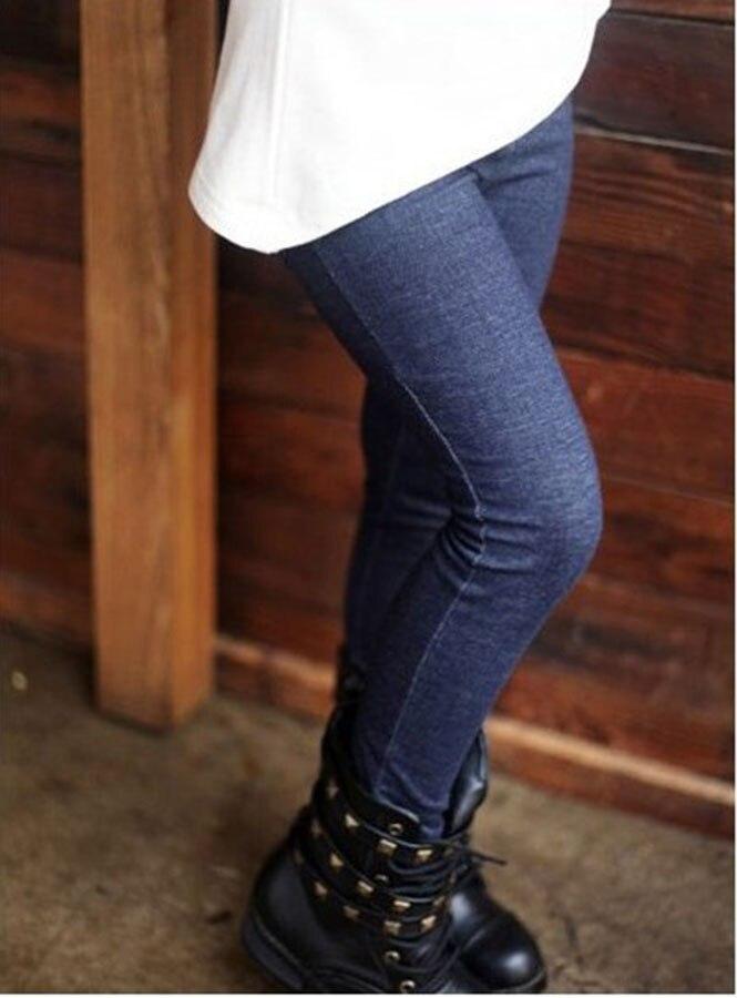 2017 новые дети девочки жан лук брюки хлопок кашемир брюки эластичный пояс девушки леггинсы теплые брюки зима весна детей брюки