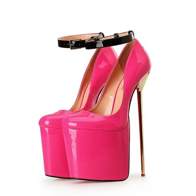 NoEnName Null Extreme High Heels Patent Leather Sex Fetish High Heels Ankle Strap Platform Heels Shoes