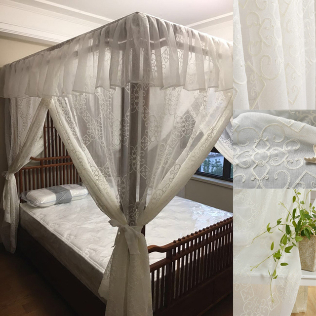 Chinese Style Palace Mosquito Net Custom-made Landing Square Bed Canopy Bed Decoration Thicken Quality Netting Curtains Bedding & Chinese Style Palace Mosquito Net Custom made Landing Square Bed ...