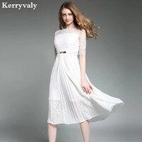 Ladies Embroidery White Lace Dress Robe Femme Ete 2017 Autumn Pleated Chiffon Red Dress Kleider Damen