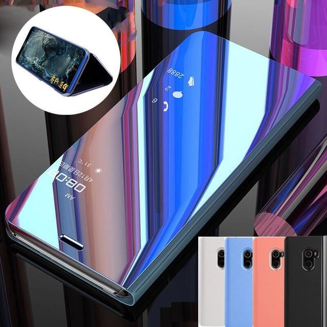 pretty nice 86423 c01ed US $4.13 6% OFF|Poco F1 Mirror Smart Flip Clear View Case Cover For Xiaomi  Pocophone F1 Mi 8 Plating Stand Capa For Xiaomi Mi A2 Mi Max 3 Coque -in ...