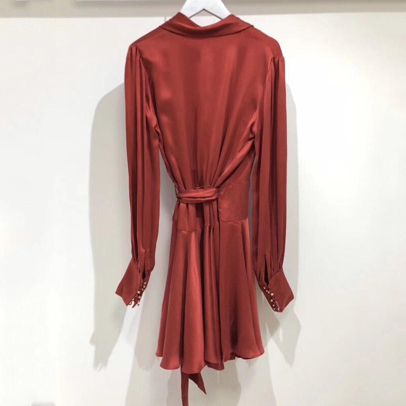 Robe Élégante Printemps Nouveau cou Femmes 2019 Longues La Rouge Pour Les Partie Manches Dames V À rrFqax