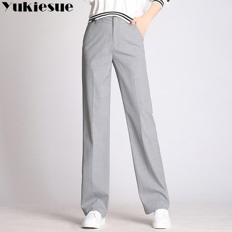High waist   wide     leg     pants   capri women 2018 summer spring OL office work wear formal straight   pants   female trousers Plus size