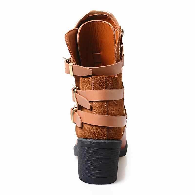 Mabaiwan Moda Fibbia Delle Donne di Spessore Tacco Alto Stivali Alla Caviglia Autunno Inverno Zip Marrone Genuino Scarpe di Cuoio della Donna Pompe Stivaletti - 5