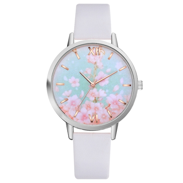Lvpai Drop shipping Flower Pattern Watches Women Clock Gift High Quality PU Leather Small Band Ladies Watch Montre Femme Gift
