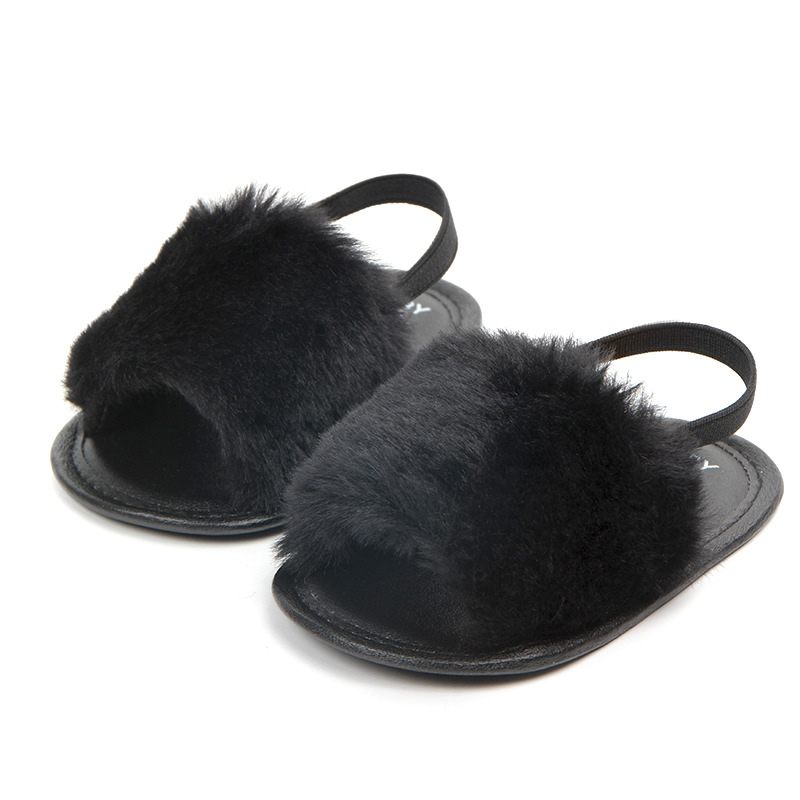 Summer Soft Hair Style Classic Baby Girl Slipper Sandals Breathable Baby Fur Shoes Simple Elastic Sandals Princess Baby