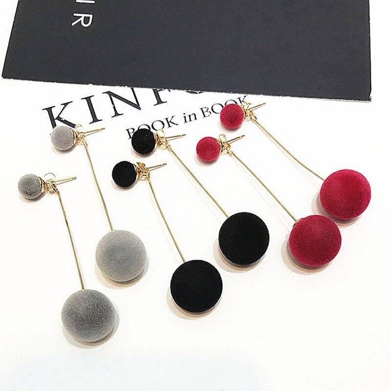 Cute Double Faux Fur Ball Dangle Drop Earrings for Women Red Black Long Oorbellen Pom Pom Pendant Earing Fashion Jewelry 2