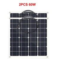 12V 120W Semi Flexible Solar Panel 60w 2pcs Mono Cell Module DIY Kit LED Light Camping Battery Charger