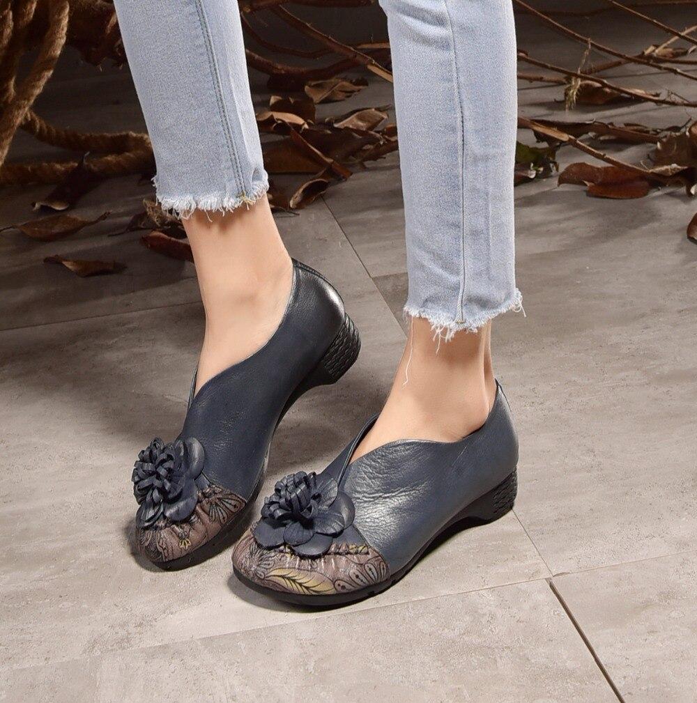 ФОТО Genuine leather casual comfort flowers handmade women shoes med heeled thick bottom