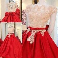 2016 A Line Red Dress Satin Lace Beading Wedding Dresses Vestidos De Novias Romantic Bridal Dress
