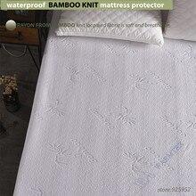 De Bambú impermeable Protector de colchón de Punto Jacquard Jacquard funda de colchón tela 100% Impermeable W014