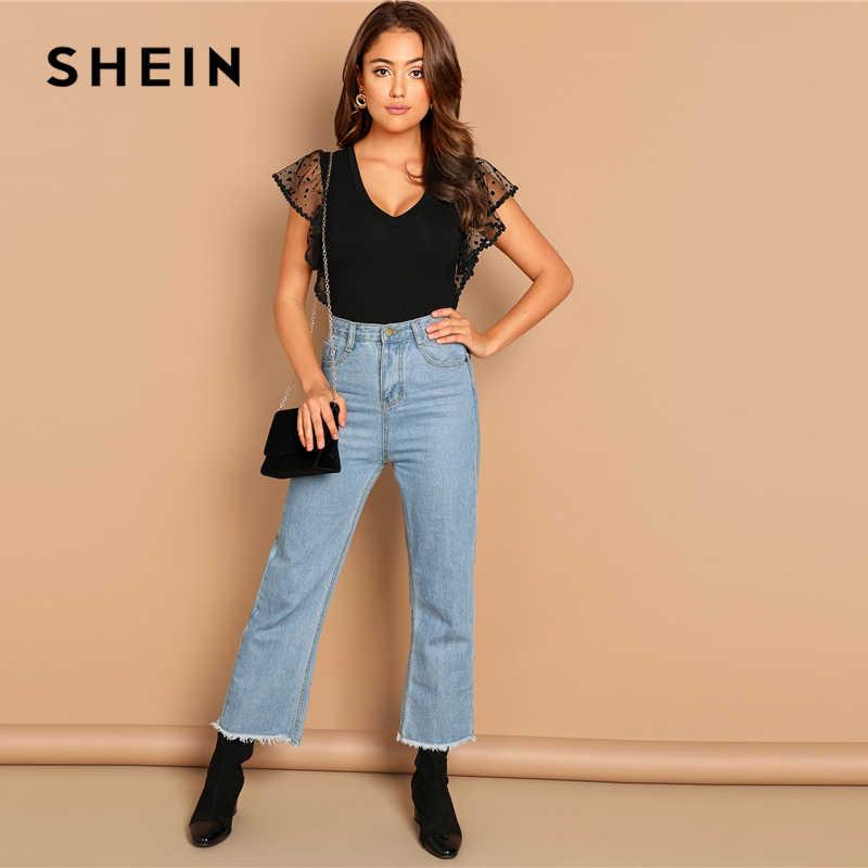 SHEIN wychodzi nowoczesna dama czarna kropka siatka trzepoczący rękaw falbany rękaw wzburzyć body kobiety jesień zwykły elegancki body