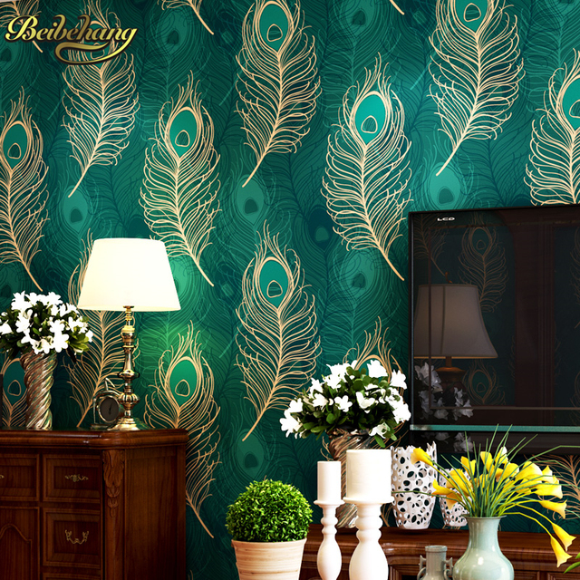 Beibehang Pfau Tapete Papier Wandbild Wand Papierrolle Papel De Parede D Blau Tv Grenzt Fur Wohnzimmer