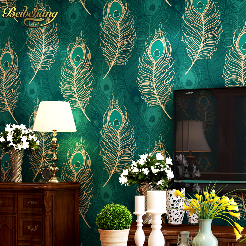 beibehang Peacock Wallpaper Paper mural Wall Paper roll papel de parede 3D blue TV Bordered for Living Room Bedroom TV Backdrop beibehang roll papel mural modern luxury pattern 3d wall paper roll mural wallpaper for living room non woven papel de parede