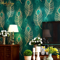beibehang Peacock Wallpaper Paper mural Wall Paper roll papel de parede 3D blue TV Bordered for Living Room Bedroom TV Backdrop