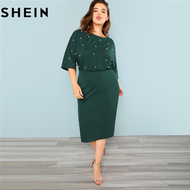 0e8398a09f79 SHEIN Green Elegant Women Plus Size Pearl Beaded Bodycon Dresses Slim Fit High  Waist Spilt Hem Solid Pencil Dress