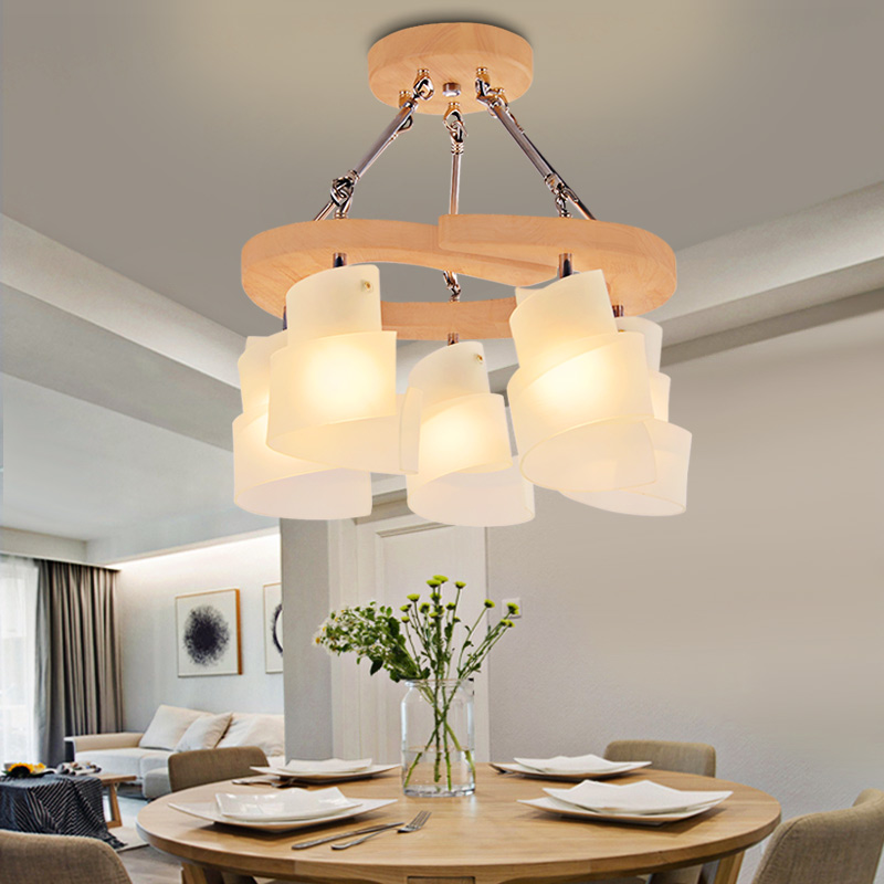 Nordic solid wood lamp bedroom ceiling lamp livable lamp ceiling lamp dining room  living room Pendant Lights LO71914 a1 master bedroom living room lamp crystal pendant lights dining room lamp european style dual use fashion pendant lamps