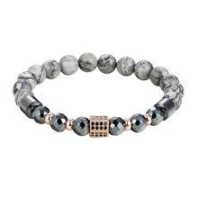 JAAFAR бренд роскошный мужской браслет мозаика CZ колонна браслет с натуральным камнем браслет из бисера для мужчин ювелирный подарок AS396