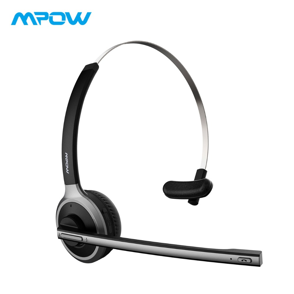 2017 New Mpow Bluetooth 4.1 Headset Wireless Over-the-Head Noise Canceling Headphones for Truck Car Drivers, Call Center, Ofiice headphones