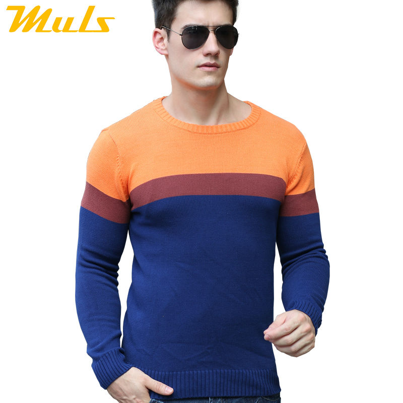 Match sweater men pullover jumper Cotton fashion winter mens sweaters 3 colors Red Blue Orange ...