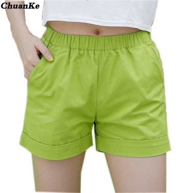 ChuanKe phụ nữ quần short phong cách giản dị ladies shorts hot bán cộng với kích thước cotton nữ quần short femininos new 2017 thời trang mùa hè