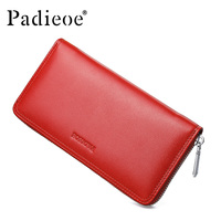 Padieoe Female Clutches Money Wallets Women Genuine Leather Long Purse Womens Hand bag for Cell Phone Card Holder Red