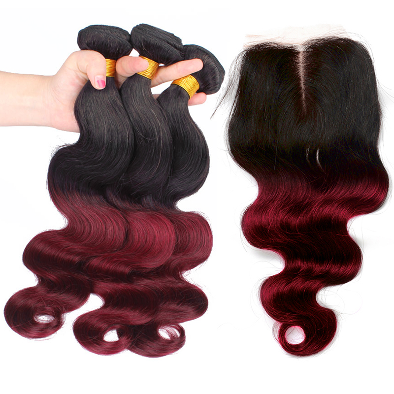 Ombre 3 Hair Bundles With Closure Body Wave 1B/99J Burgundy Human Hair Bundles With Closure Remy Venvee
