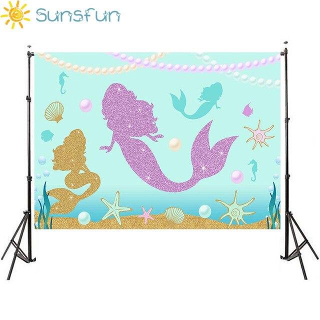 Sunsfun 7x5ft синий мультфильм океан Shell день рождения Русалка фотографического ребенка фоном для изучения фото фон 220x150 см