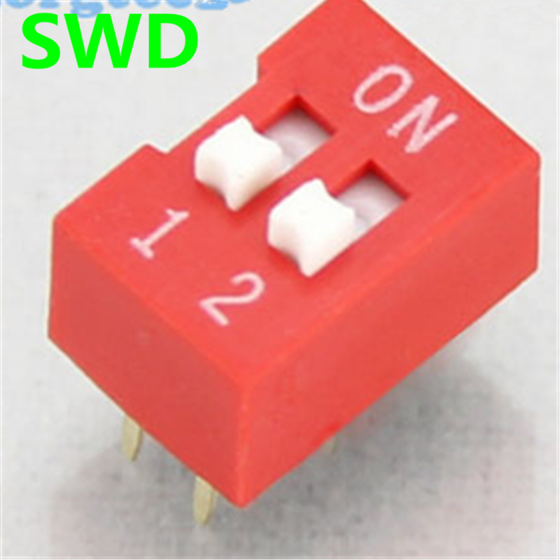 10PCS/Lot DIP Switch 2 Way 2.54mm Toggle Switch Red Snap Switch