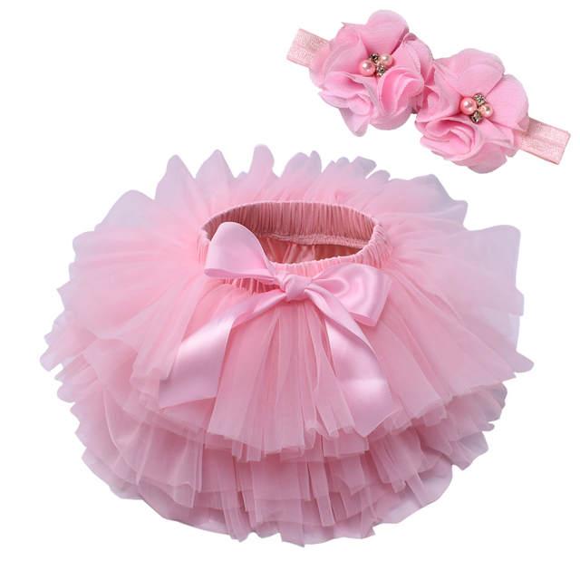 cf0249ab Spódniczka Tutu dla niemowlaków 2 sztuk tiul koronka bloomers pieluchy  pokrywa noworodka stroje dla niemowląt Mauv z pałąkiem na głowę kwiat ...
