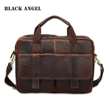 Vintage 100% Genuine Leather men bag men's Shoulder briefcase business tote Cowhide Leather men messenger bags