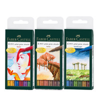 FABER CASTELL Mark Pen Water Soft Head 6 Color Hand Painted Illustration Character Landscape Gray