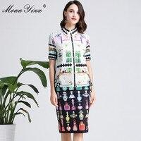 MoaaYina Fashion Designer Set Spring Summer Women Short sleeve Shirt Tops+Perfume Print Skirt Two piece suit