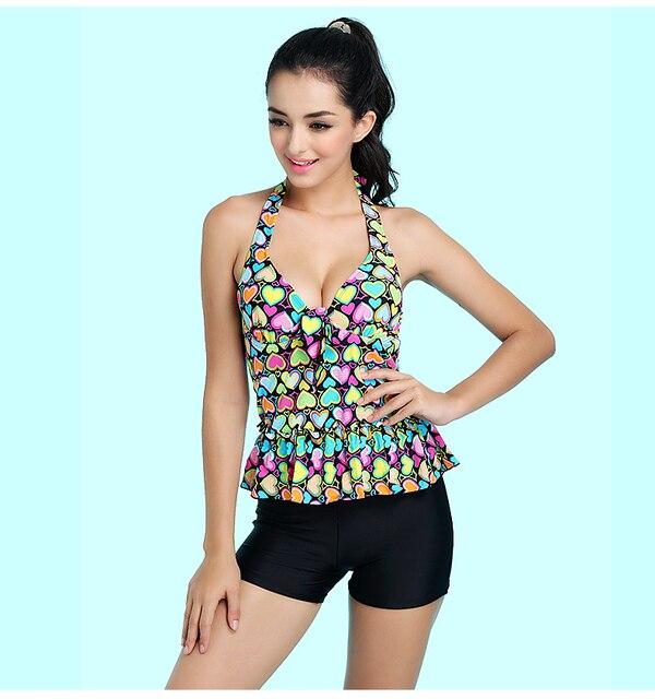 39473fe8c5a Beautiful Floral Print Modest Women Two Pieces Swimsuit Plus Size Tankini  Girl's Swimwear Beach Wear Bathing Suit Sleeveless