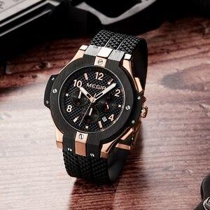 Image 4 - MEGIR Brand Men Watch Quartz Watch Gold Rubber Band 3ATM Water Resistant Chronograph Mens Quartz Wrist Watch