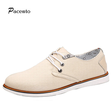 2016 PACENTO Fashion Brand Simple Canvas Shoes Men Black Casual Shoes Breathable Men's Flats Lace Up Boat European Style Zapatos