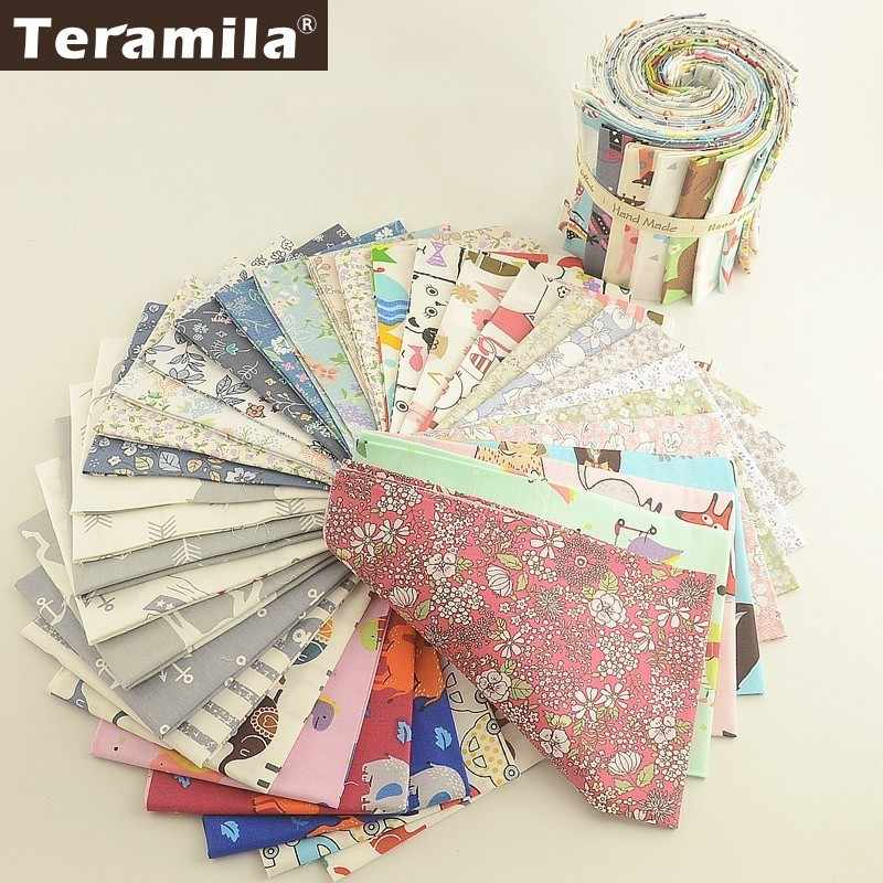 Teramila Flowers Cartoon Design 100% Cotton Twill Fabric Telas Patchwork Algodon 25x45cm Tissu DIY Baby Quilts Toys Home Textile