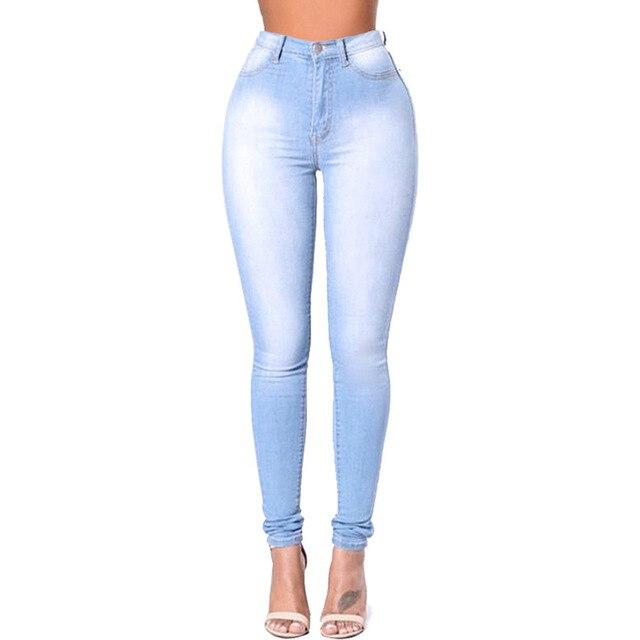 New Fashion Spring Autumn Pants Washed Jeans Button Slim Demine Pants Bleached Female Trousers Women Pencil Pant Plus Size S-4XL