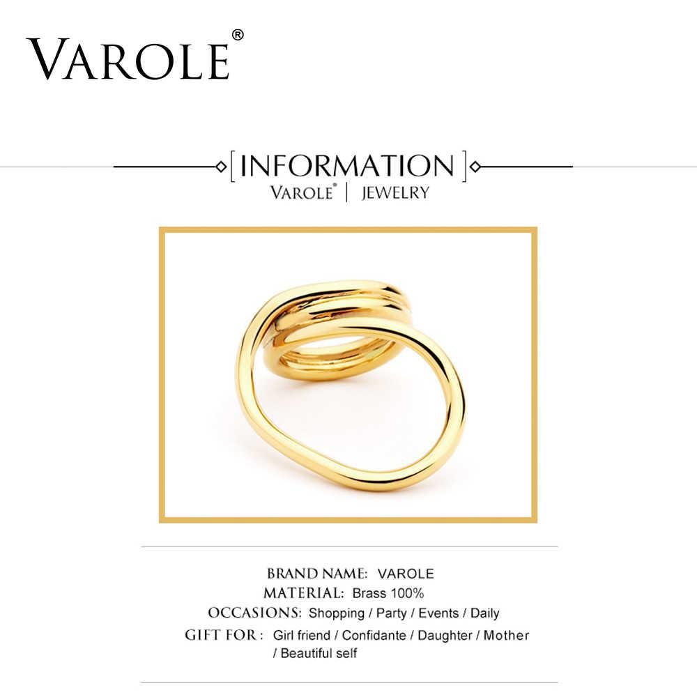 VAROLE ใหม่เกาหลีสไตล์ Twisted Lines GOLD สีแหวนแฟชั่นผู้หญิงเครื่องประดับขายส่ง