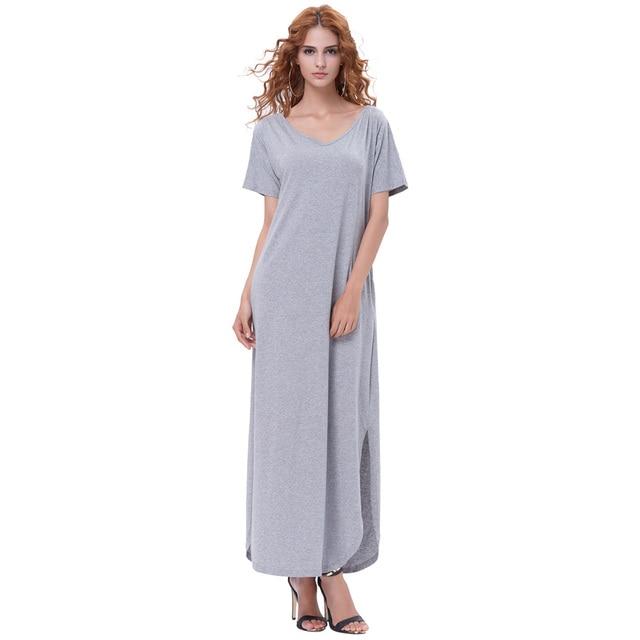 91585ab0be18 Kate Kasin Women Summer Casual Shift Dresses Womens Plain Grey Black Red V  Neck Loose Short